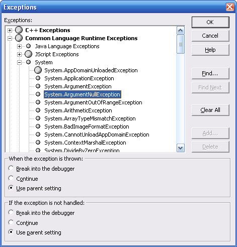 Setting up exception handling in Visual Studio