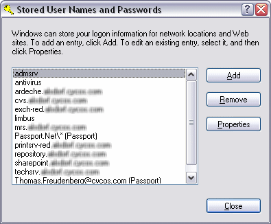 Stored User Names and Passwords